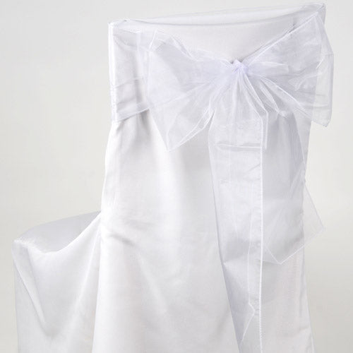 Pack of 10 Piece - 8 Inches x 108 Inches White Organza Chair Sash
