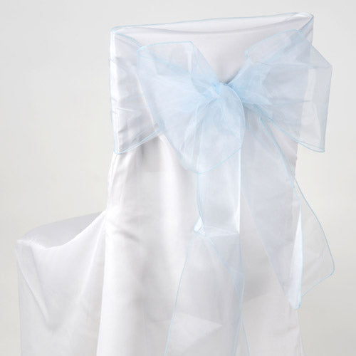 Pack of 10 Piece - 8 Inches x 108 Inches Light Blue Organza Chair Sash