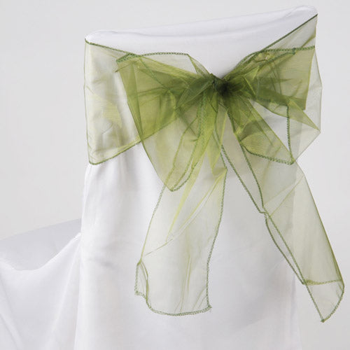 Pack of 10 Piece - 8 Inches x 108 Inches Spring Moss Organza Chair Sash