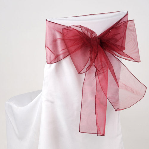 Pack of 10 Piece - 8 Inches x 108 Inches Wine Organza Chair Sash
