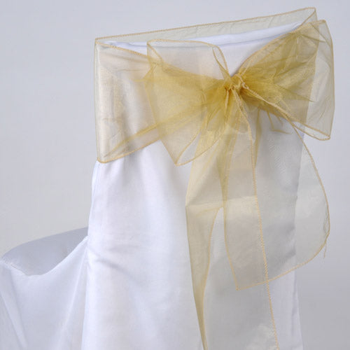 Pack of 10 Piece - 8 Inches x 108 Inches Gold Organza Chair Sash