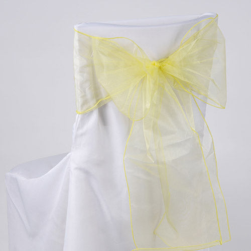 Pack of 10 Piece - 8 Inches x 108 Inches Daffodil Organza Chair Sash