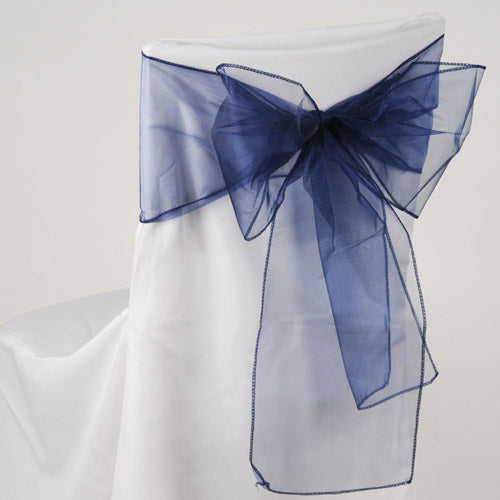 Pack of 10 Piece - 8 Inches x 108 Inches Navy Organza Chair Sash