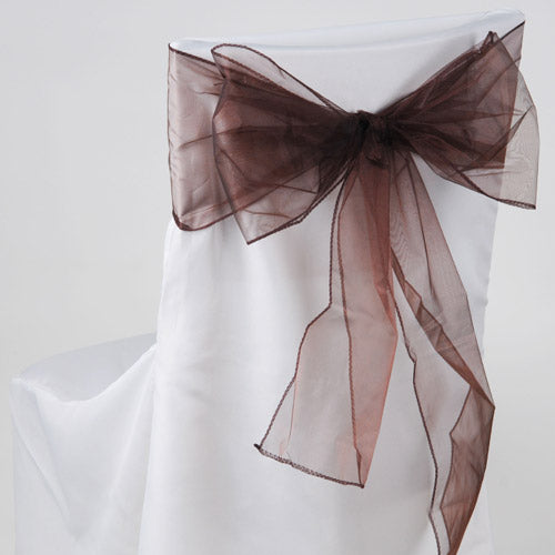 Pack of 10 Piece - 8 Inches x 108 Inches Chocolate Brown Organza Chair Sash