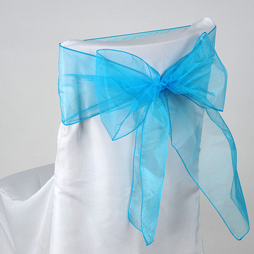 Pack of 10 Piece - 8 Inches x 108 Inches Turquoise Organza Chair Sash