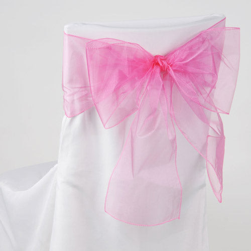 Pack of 10 Piece - 8 Inches x 108 Inches Hot Pink Organza Chair Sash