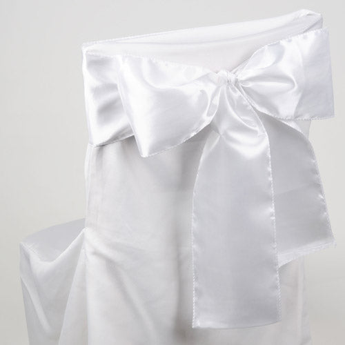 Pack of 10 Piece - 6 inches x 106 inches White Satin Chair Sash