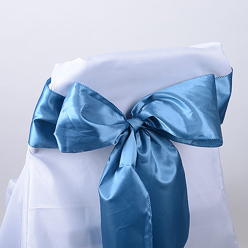 Pack of 10 Piece - 6 inches x 106 inches Antique Blue Satin Chair Sash