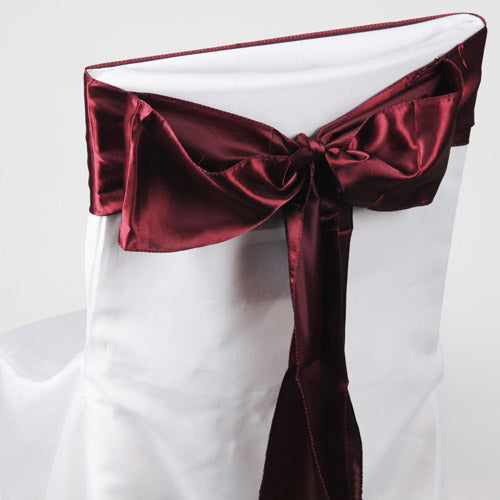 Pack of 10 Piece - 6 inches x 106 inches Burgundy Satin Chair Sash