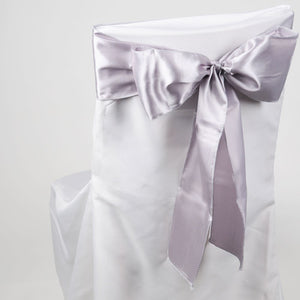 Pack of 10 Piece - 6 inches x 106 inches Silver Satin Chair Sash