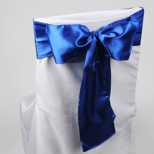 Pack of 10 Piece - 6 inches x 106 inches Royal Blue Satin Chair Sash