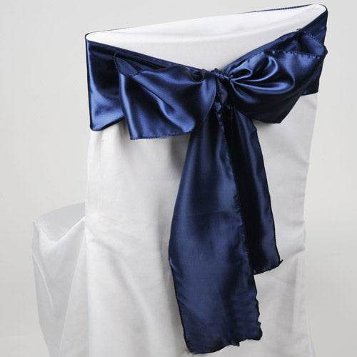 Pack of 10 Piece - 6 inches x 106 inches Navy Blue Satin Chair Sash