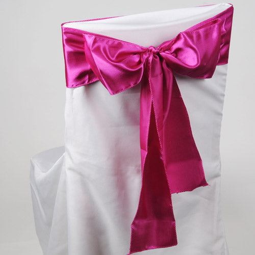 Pack of 10 Piece - 6 inches x 106 inches Fuchsia Satin Chair Sash
