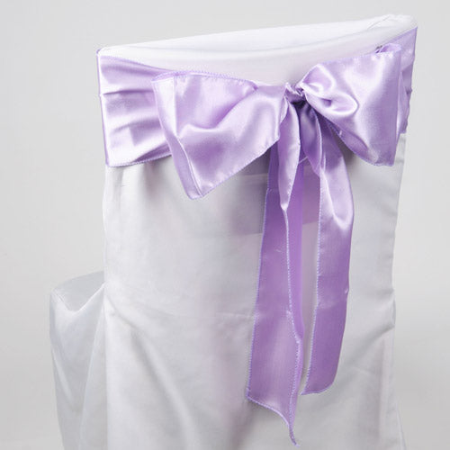 Pack of 10 Piece - 6 inches x 106 inches Lavender Satin Chair Sash