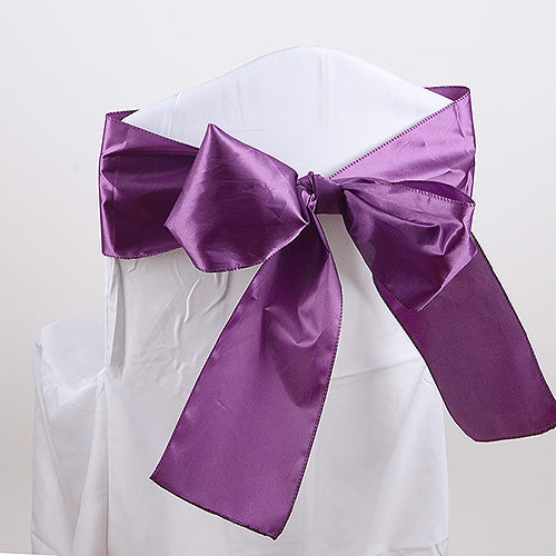 Pack of 10 Piece - 6 inches x 106 inches Plum Satin Chair Sash