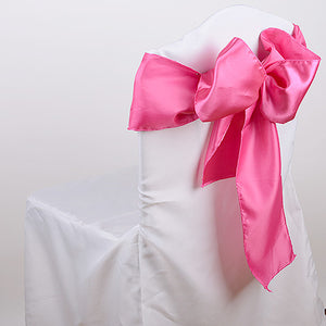 Pack of 10 Piece - 6 inches x 106 inches Hot Pink Satin Chair Sash