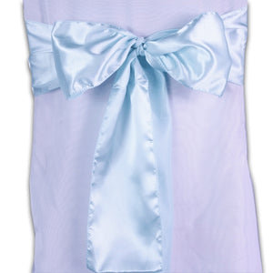 Pack of 10 Piece - 6 inches x 106 inches Aqua Blue Satin Chair Sash