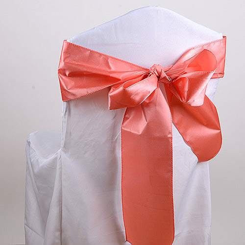 Pack of 10 Piece - 6 inches x 106 inches Coral Satin Chair Sash