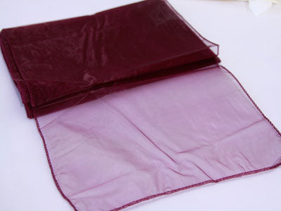 14 inch x 108 inches Burgundy Organza Table Runners
