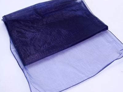 14 inch x 108 inches Navy Blue Organza Table Runners