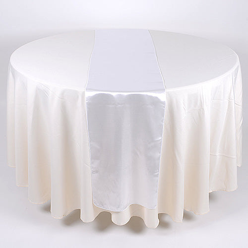 12 inch x 108 inches White Satin Table Runner