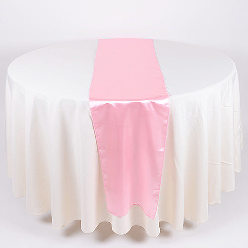 12 inch x 108 inches Pink Satin Table Runner