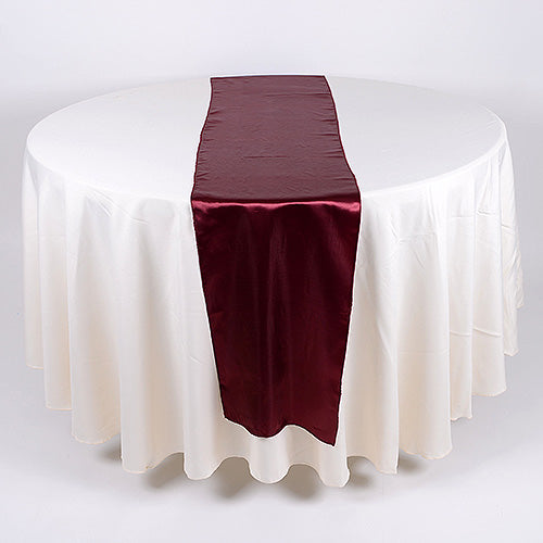 12 inch x 108 inches Burgundy Satin Table Runner