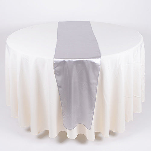 12 inch x 108 inches Silver Satin Table Runner