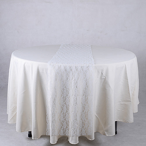 14 inch x 108 inches White Lace Table Runners