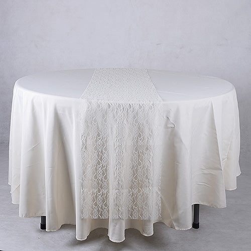 14 inch x 108 inches Ivory Lace Table Runners