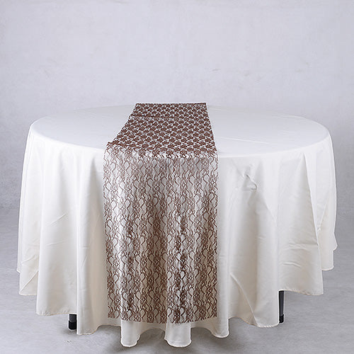 14 inch x 108 inches Chocolate Brown Lace Table Runners
