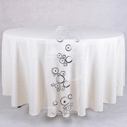 White Silver - 14 x 108 inch Metallic Organza Table Runners
