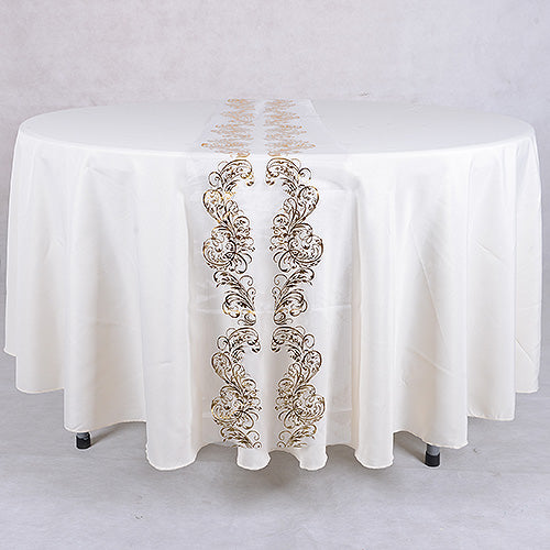 14 inch x 108 inches White Gold Organza Table Runners