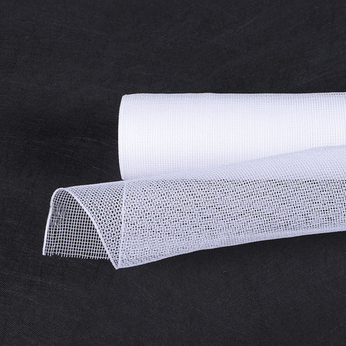 21 Inch x 10 Yards White Floral Mesh Wrap Solid Color