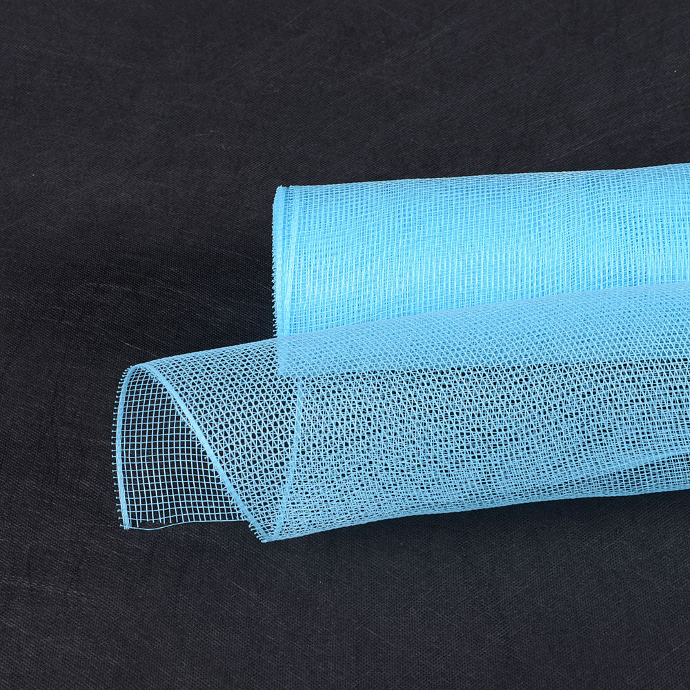 21 Inch x 10 Yards Light Blue Floral Mesh Wrap Solid Color