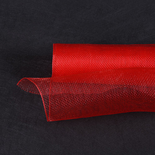 10 Inch x 10 Yards Red Floral Mesh Wrap Solid Color