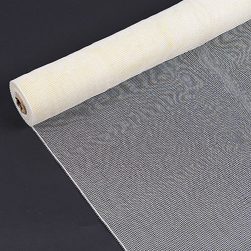 21 Inch x 10 Yards Ivory Floral Mesh Wrap Solid Color