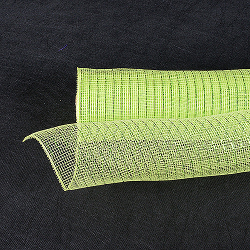 21 Inch x 10 Yards Apple Green Deco Mesh Wrap Metallic Stripes