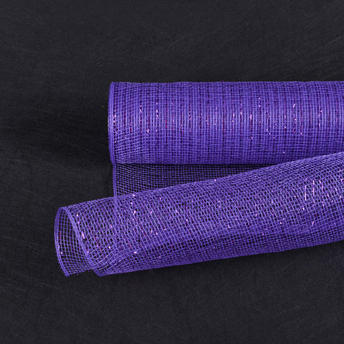 Purple Line - Deco Mesh Wrap Metallic Stripes ( 21 Inch x 10 Yards )