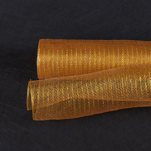 21 Inch x 10 Yards Old Gold with Gold Line Deco Mesh Wrap Metallic Stripes