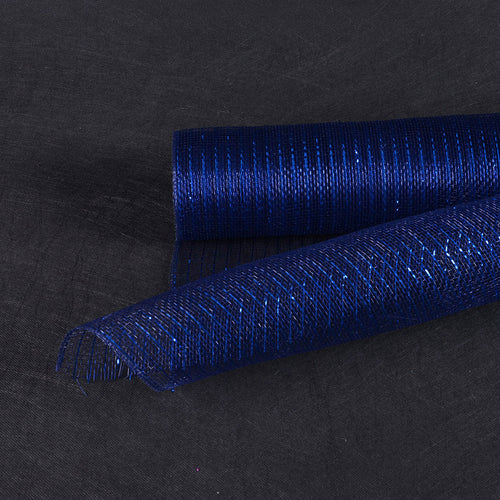 21 Inch x 10 Yards Navy Blue Deco Mesh Wrap Metallic Stripes
