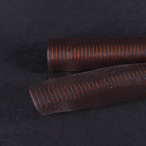 Brown with Copper Line - Deco Mesh Wrap Metallic Stripes ( 21 Inch x 10 Yards )