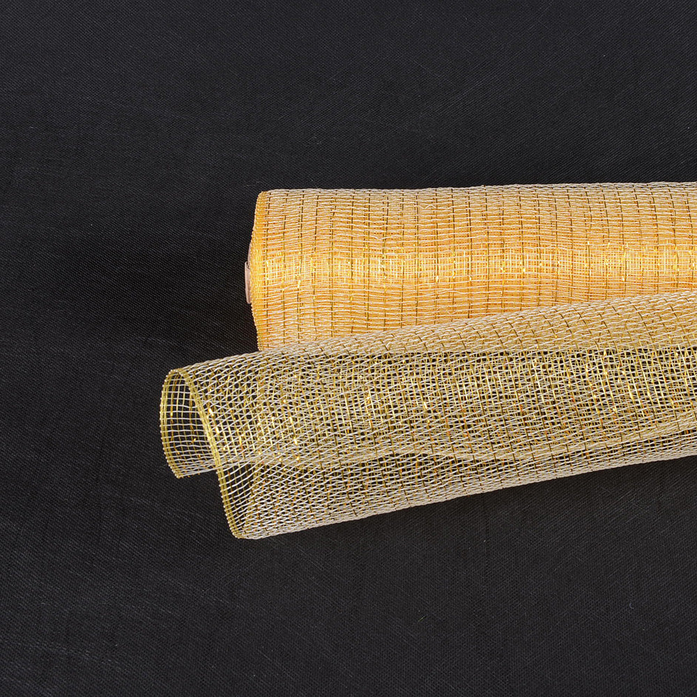 21 Inch x 10 Yards Ivory with Gold Deco Mesh Wrap Metallic Stripes
