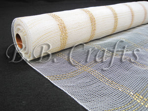 21 Inch x 10 Yards White Floral Mesh Wrap Metallic Gold Chex Design