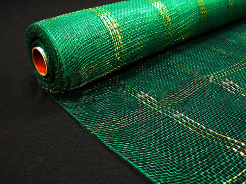 21 Inch x 10 Yards Emerald Floral Mesh Wrap Metallic Gold Chex Design