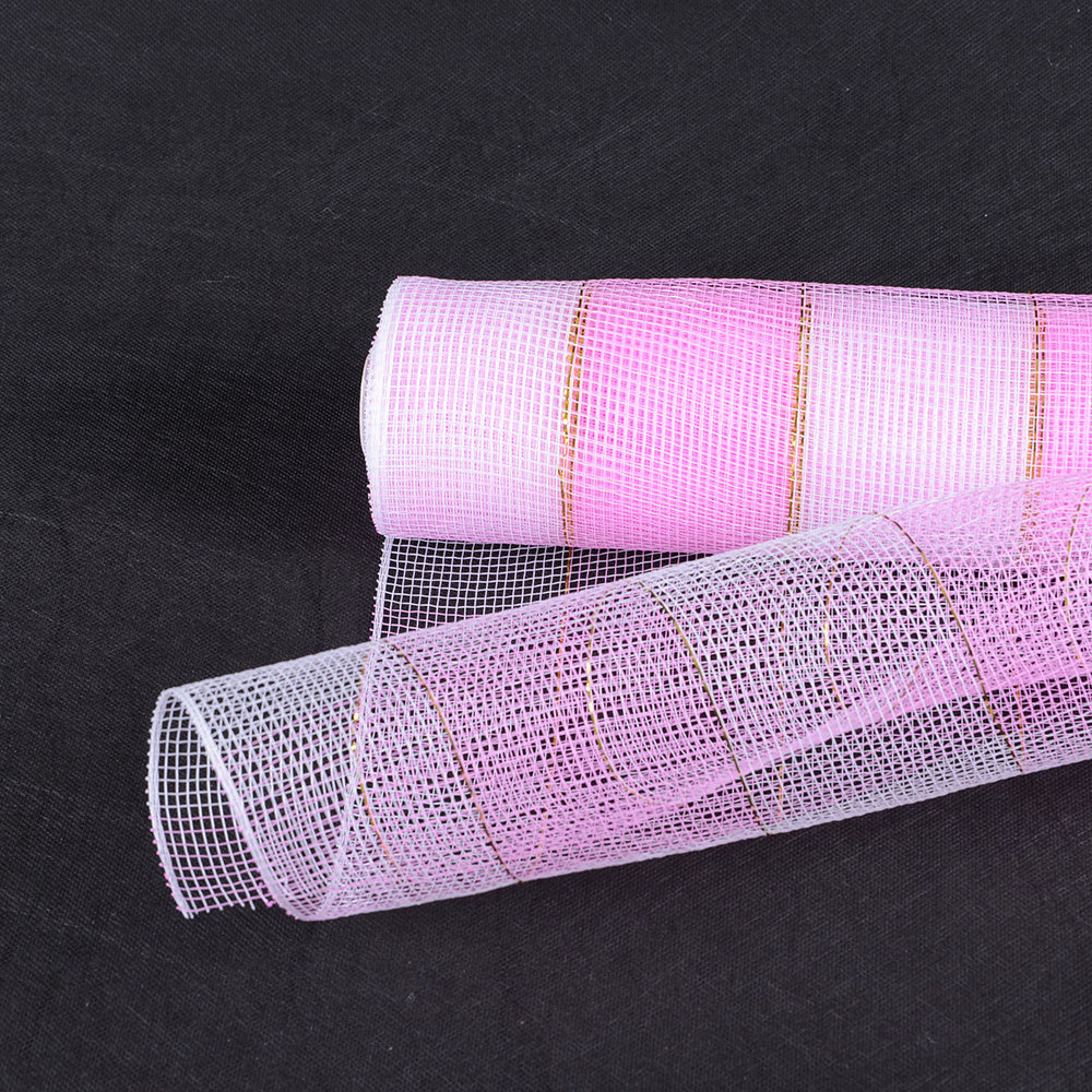 21 Inch x 10 Yards Pink White Christmas Mesh Wraps