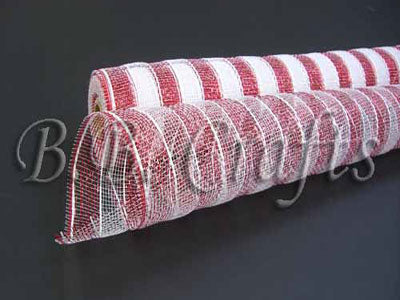 21 Inch x 10 Yards White with Red Poly Deco Mesh Wrap with Laser Mono Stripe