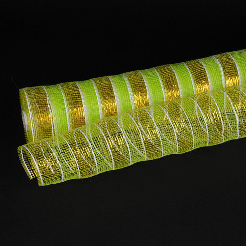 21 Inch x 10 Yards Apple Green with Gold Poly Deco Mesh Wrap with Laser Mono Stripe