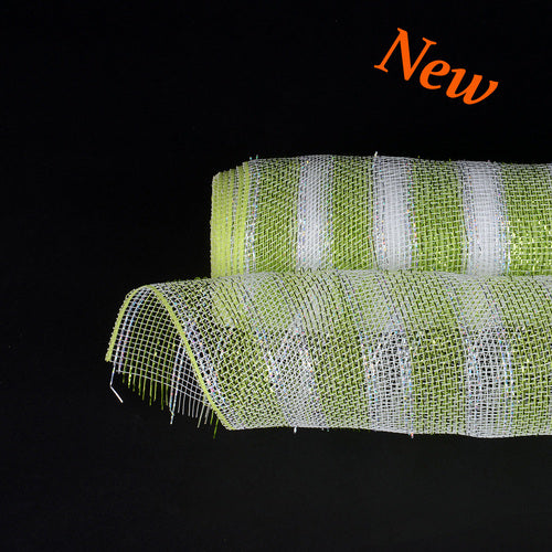 Apple Green with Silver Lines  - Poly Deco Mesh Wrap with Laser Mono Stripe -  ( 21 Inch x 10 Yards )