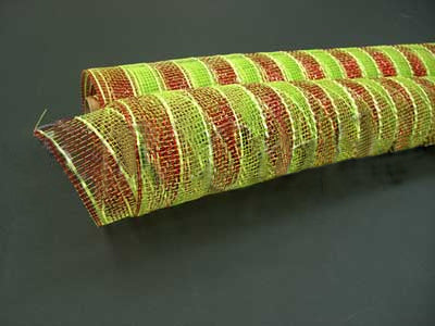 21 Inch x 10 Yards Apple Green with Red Lines Poly Deco Mesh Wrap with Laser Mono Stripe